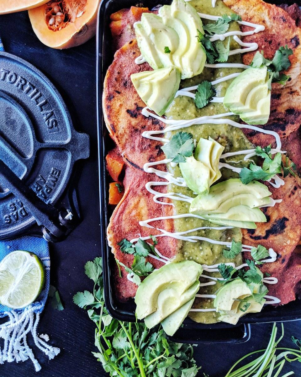 Ultimate Stacked Vegan Enchiladas